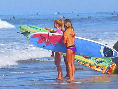 Surf Lifestyle Digital Art - 3 Surf Amigas by Waterdancer
