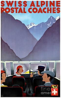 Mixed Media - Switzerland Vintage Travel Poster Restored by Carsten Reisinger
