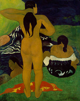 Painting - Tahitian Women Bathing by Paul Gauguin