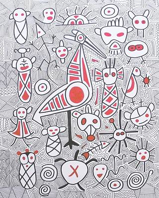 Taino Drawing - Taino Petroglyphs by Jose Guerrido jr