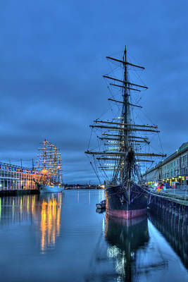 Tall Ships On Boston Harbor - Fish Pier Art Print
