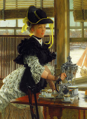 Teapot Painting - tea by James Tissot