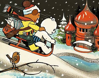 Moscow Drawing - Teddy Bear Sleigh Ride by William Francis Phillipps