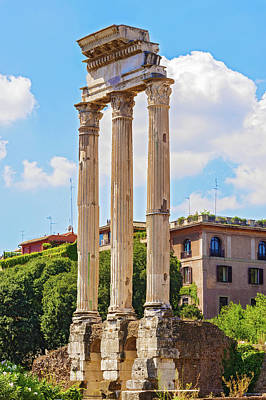Temple Of Castor And Pollux Photograph - Temple Of Castor And Pollux In Rome, Italy by Marek Poplawski