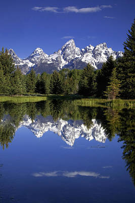 Snow. Mountain Photograph - Teton Reflections by Andrew Soundarajan