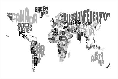Cartography Wall Art - Digital Art - Text Map Of The World by Michael Tompsett