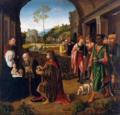 Xmas Painting - The Adoration Of The Magi by Gerard David