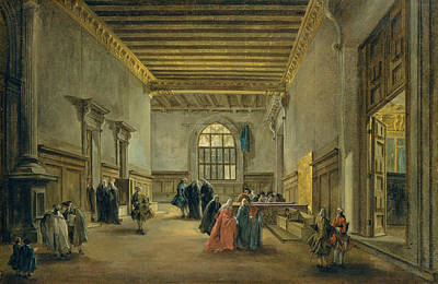 Painting - The Antechamber Of The Sala Del Maggior Consiglio by Treasury Classics Art