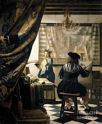 Self Portrait Painting - The Artist's Studio by Jan Vermeer