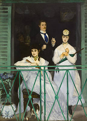 Fan Painting - The Balcony by Edouard Manet