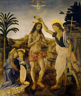 Jesus Painting - The Baptism Of Christ by Leonardo da Vinci