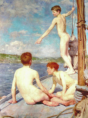 Painting - The Bathers by H Tuke