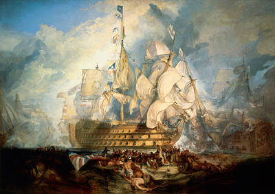 Fighting Painting - The Battle Of Trafalgar by JMW Turner