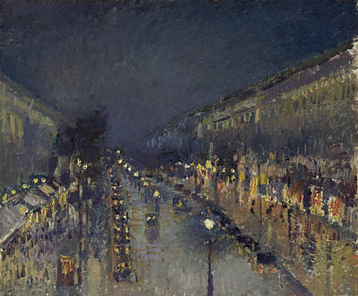 Streetscape Painting - The Boulevard Montmartre At Night by Camille Pissarro