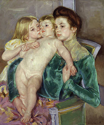 Impressionist Painting - The Caress by Mary Cassatt