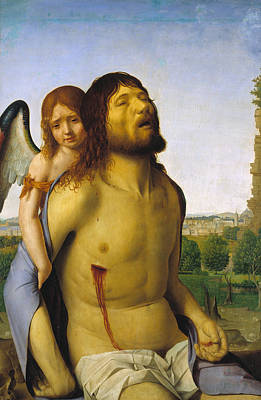 Sorrow Painting - The Dead Christ Supported By An Angel by Antonello da Messina
