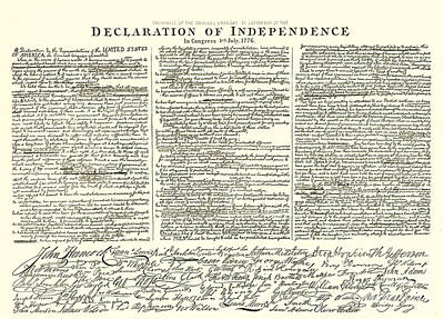 Philadelphia History Drawing - The Declaration Of Independence by American School