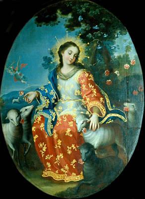 Miguel Cabrera Painting - The Divine Shepherdess by Miguel Cabrera