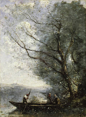 Boating Painting - The Ferryman by Camille Corot
