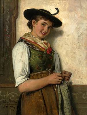 Adolf Painting - The Girl by Adolf Eberle