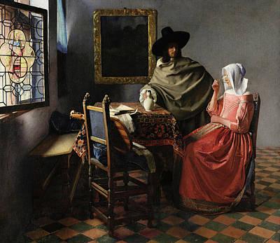 Johannes Vermeer Wall Art - Painting - The Glass Of Wine by Johannes Vermeer