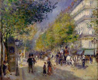 Stroll Painting - The Grands Boulevards by Pierre-Auguste Renoir