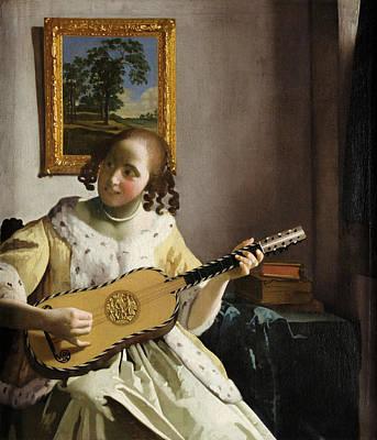 Johannes Vermeer Wall Art - Painting - The Guitar Player by Johannes Vermeer