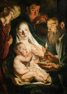 Jesus Art Painting - The Holy Family With Shepherds by Jacob Jordaens