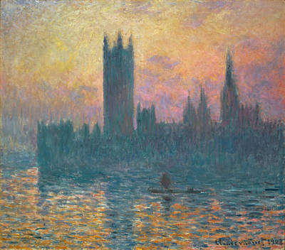 Townscape Painting - The Houses Of Parliament, Sunset by Claude Monet