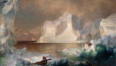 Glacier Alaska Painting - The Icebergs by Frederic Edwin Church