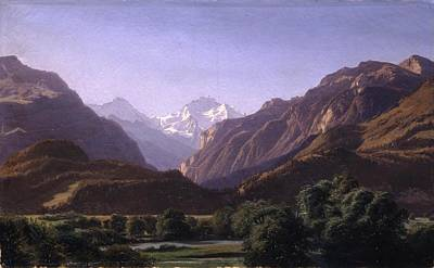 Old Masters Royalty Free Images - The Jungfrau Massif seen from Unterseen near Interlaken Royalty-Free Image by Alexandre Calame