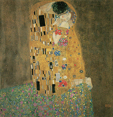 Klimt Painting - The Kiss by Gustav Klimt