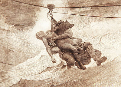 Pulley Painting - The Life Line by Winslow Homer