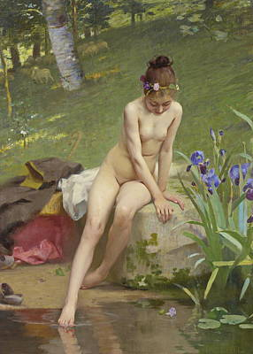 Nudist Painting - The Little Shepherdess by Paul Peel