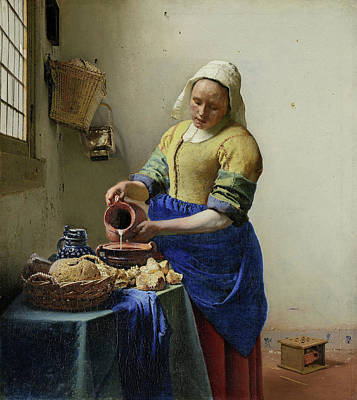The Milkmaid Art Print by Johannes Vermeer