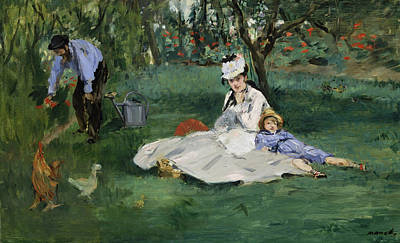 Townscape Painting - The Monet Family In Their Garden At Argenteuil by Edouard Manet