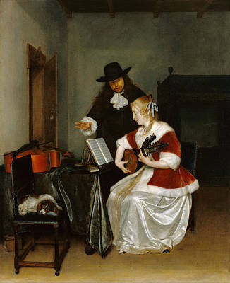 Interior Scene Painting - The Music Lesson by Gerard ter Borch