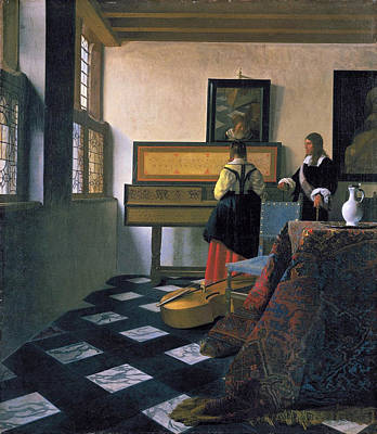 The Music Lesson Painting - The Music Lesson by Johannes Vermeer