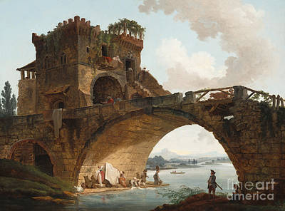 Brick Painting - The Ponte Salario by Hubert Robert