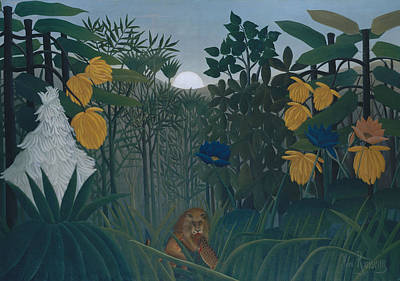 Naive Art Painting - The Repast Of The Lion by Henri Rousseau