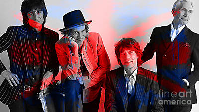 Portrait Mixed Media - The Rolling Stones by Marvin Blaine