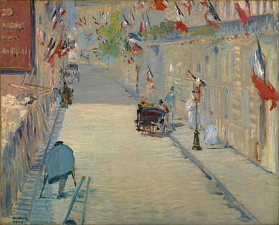 Streetscape Painting - The Rue Mosnier With Flags by Edouard Manet