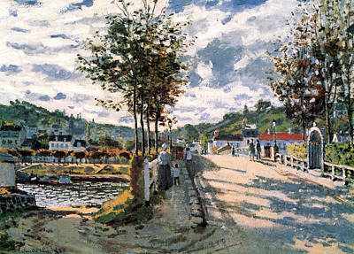 Streetscape Painting - The Seine At Bougival by Claude Monet