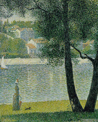 Pointilist Painting - The Seine At Courbevoie by Georges Seurat