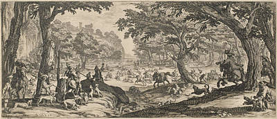 Drawing - The Stag Hunt by Jacques Callot