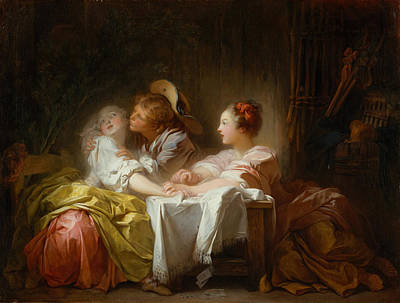 Art Print featuring the painting The Stolen Kiss by Jean-Honore Fragonard