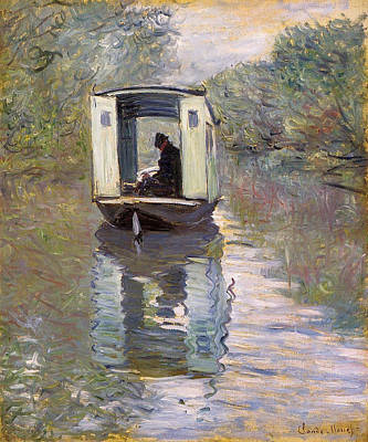 Monet Painting - The Studio Boat by Claude Monet