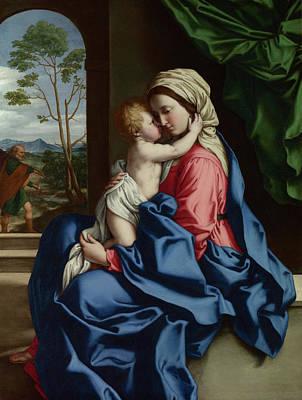 Sassoferrato Painting - The Virgin And Child Embracing by Sassoferrato