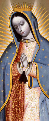 Virgin Guadalupe Painting - The Virgin Of Guadalupe  by Mexican School
