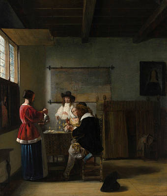 Interior Scene Painting - The Visit by Pieter de Hooch